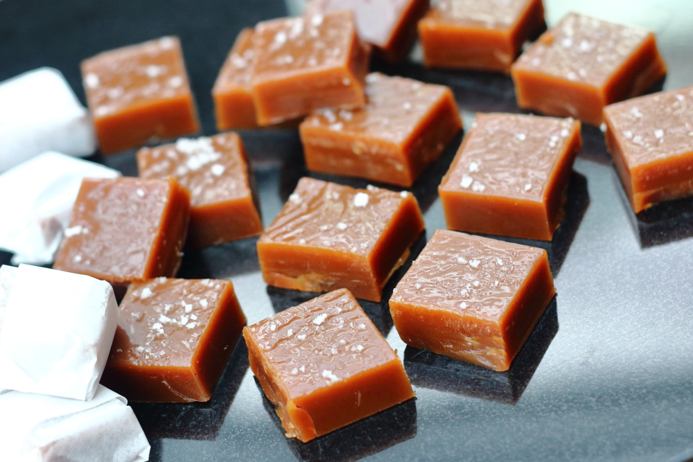 Pieces of salted butter caramels for corporate gifts