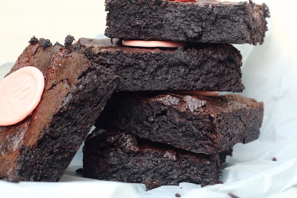 Stack of dark chocolate brownies for corporate gift box hampers