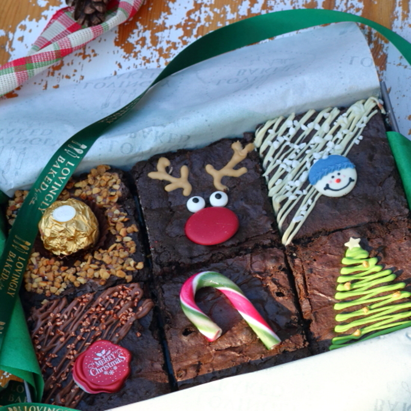 Gift box with six chocolate brownies decorated with festive theme, made by Lovingly Baked by Anthea in Grayshott Surrey