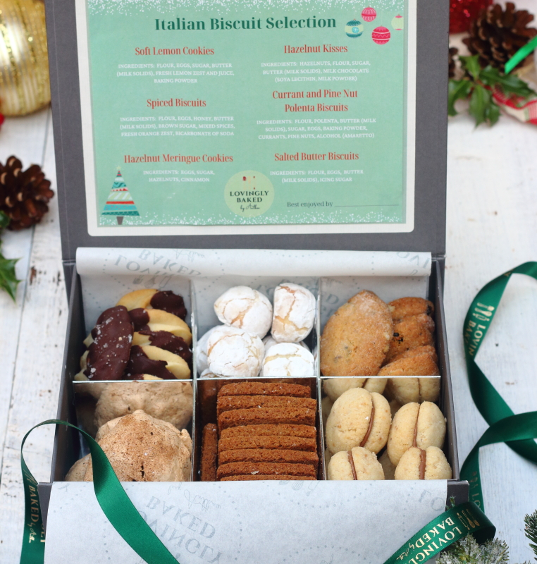 Gift box of six types of Italian biscuits with Christmas ribbon, by Lovingly Baked by Anthea