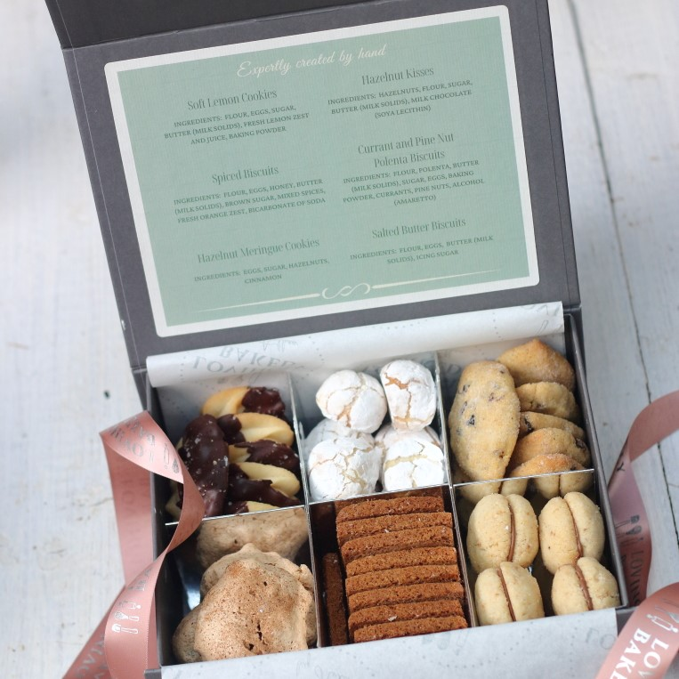 Gift box containing six types of Italian biscuits, to order online from Lovingly Baked by Anthea