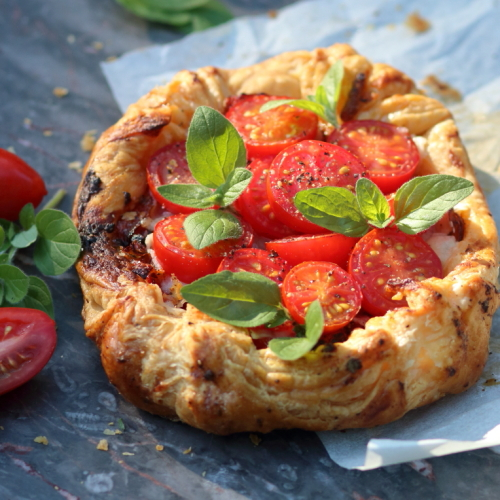 Tomato puff pastrt tart by lovingly baked by anthea