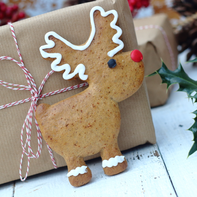 Christmas honey and spice gingerbread reindeer decorated with royal icing, by Lovingly Baked by Anthea in Grayshott Surrey