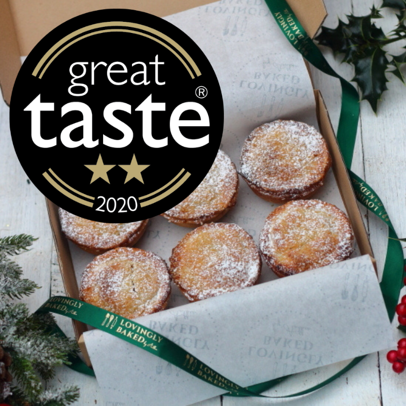 Box of six Christmas mince pies with green ribbon and Great Taste Awards badge to order online from Lovingly Baked by Anthea